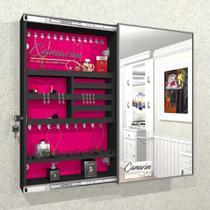 Armário Porta Joia (1,00 - PRETO), Colar e  Brinco com Porta De Espelho em Moldura de Aluminio - Camarim Móveis