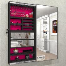Armário Porta Joia (1,30 - PRETO), COM ILUMINAÇÃO LED, suporte para Colar e  Brinco com Porta De Espelho - Camarim Móveis