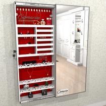 Armário Porta Joia (1,50 - BRANCO), Colar e  Brinco com Porta De Espelho em Moldura de Alumínio - Camarim Móveis