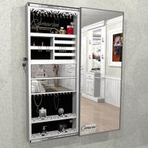 Armário Porta Joia (1,50 - BRANCO), COM ILUMINAÇÃO LED, suporte para Colar e  Brinco com Porta De Espelho - Camarim Móveis
