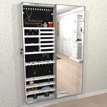 Armário Porta Joia (1,80 - BRANCO), Colar e  Brinco com Porta De Espelho em Moldura de Aluminio - Camarim Móveis