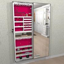 Armário Porta Joia COM LED (1,80 - BRANCO), Porta De Espelho em Moldura de Alumínio - Camarim Móveis