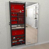 Armário Porta Joia COM LED (1,80 - PRETO), Porta De Espelho em Moldura de Alumínio - Camarim Móveis