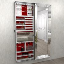 Armário Porta Joia LUXO (1,80 - BRANCO) Fundo em veludo c/ Porta De Espelho chanfrado c/ amortecedor   Iluminação LED automático acionamento ao abrir - Camarim Móveis