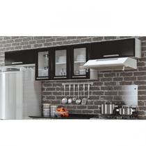 Armários para Cozinha 3 Portas de Vidro 2 Portas Basculante Luce 2018 Itatiaia Preto/Branco -