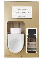 Aromatizador Difusor Elétrico de PORCELANA Via Aroma com Óleo Essencial CITRONELA 100% Natural 10ml -