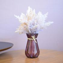 Arranjo Artificial de Flores Envelhecidas no Vaso Geométrico Lilás  Formosinha -