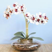 Arranjo com Duas Orquídeas Artificiais Tigre no Vaso de Vidro Transparente - FORMOSINHA