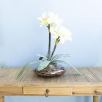 Arranjo de Amarílis Flor Artificial Branca no Vaso de Vidro Formosinha -
