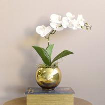 Arranjo de Flor Artificial de Orquídea Branca no Vaso Dourado  Formosinha -