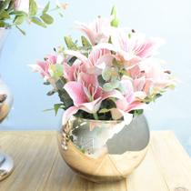 Arranjo de Flor Artificial Lírios no Vaso Rose Gold  Formosinha -