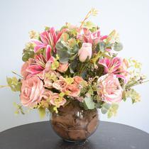 Arranjo de Flores Artificiais Rosas e Lírios Pink Redondo - FORMOSINHA