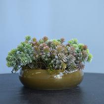 Arranjo de Folhagem Artificial no Vaso Cerâmica Verde Baixo  Formosinha -