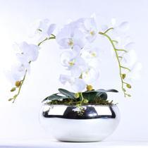 Arranjo de Orquídea Artificial Branca 3 Hastes Diamond - Vila Das Flores