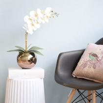 Arranjo de Orquídea Artificial Branca 3D no Vaso de Vidro Bronze Médio - FORMOSINHA