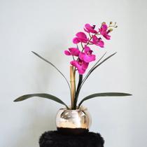 Arranjo de Orquídea Artificial Pink no Vaso Rose Gold Médio - FORMOSINHA