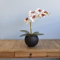 Arranjo de Orquídea Tigre de Silicone no Vaso de Vidro Preto Fosco  Formosinha -