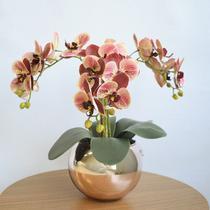Arranjo Flor Artificial Orquídeas Coral no Vaso Rose Gold  Formosinha -