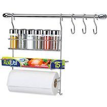 Arthi, 761417, Kit Porta Temperos Cook Home Condimentos Barra Ganchos Casa Cromado, Polipropileno -