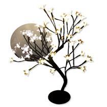 Árvore Abajur Cerejeira 48 Leds Fixo Branco Quente Bivolt - M&M
