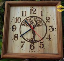 Arvore da Vida relógio de madeira de parede feito a mão - Artesanal