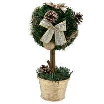 Arvore de Mesa Decorada 30cm Topiaria Dourado Real Espressione Christmas -