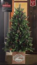 Árvore de Natal 1,37 m 430 Galhos Decorada 100 Luzes Pinhas Cerejas Smsc -