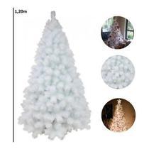 Árvore De Natal Pinheiro Branco De Luxo 1.20m 170 Galhos - Chibrali