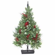 Árvore De Natal Pinheiro Hera E Cerejinha 90cm Base Metal - Essencial