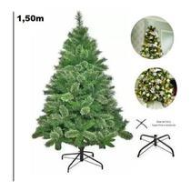 Árvore De Natal Pinheiro Verde Com Neve Modelo Luxo 260 Galhos 1,5m - Chibrali