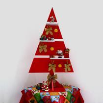 Árvore de Natal Vermelho MDF Laca 110 cm Pinheiro Decorativa Enfeite Natalina - Formalivre
