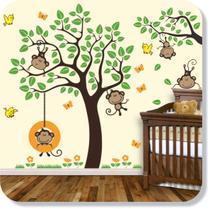 Árvore Macacos Galho Adesivo Parede Infantil - Mundo dos adesivos