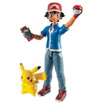 Ash e Pikachu com Pokebola e Pokedex - Action Figure Pokemon - Tomy