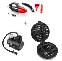 Aspirador De Pó Automotivo+mini Compressor D Ar+ferramentas - Multilaser