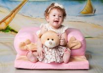 Assento De Bebê Cadeirinha Rosa Sofá Estofada - Personagem - Império do Bebê
