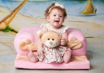 Assento De Bebê - Sofazinho Cadeirinha Multiuso Ursinha Rosa - Império Do Bebê