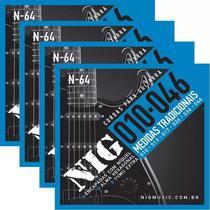 Atacado Kit 4 Encordoamento Nig Para Guitarra Elétrica 010 -