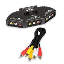 Audio Video RCA Switch selector divisor caixa AV Patch cabo para conectar 3 RCA saída D TV - X-cell