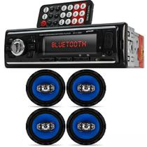 Auto Radio Automotivo Bluetooth Mp3 Player Usb e Kit 4 Alto Falantes Orion 6 Pol 220w Rms