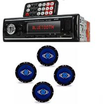 Auto Radio Automotivo Bluetooth Mp3 Player Usb Sd e Kit 4 Alto Auto Falantes Hurricane 6 Polegadas
