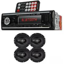 Auto Radio Automotivo Bluetooth Mp3 Player Usb Sd e Kit 4 Alto Falante 6 240w Rms Positron - Knupp / positron