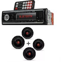 Auto Radio Automotivo Bluetooth Mp3 Player Usb Sd e Kit 4 Alto Falante  Bomber Bbr Triaxial 6 Pol 200w