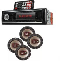 Auto Radio Automotivo Bluetooth Mp3 Player Usb Sd e Kit 4 Auto Falante Bravox 6 50w