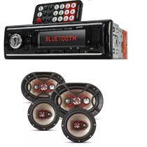 Auto Radio Automotivo Bluetooth Mp3 Player Usb Sd e Kit Auto Falante Bravox Facil 6   Triaxial Quadriaxial 6x9