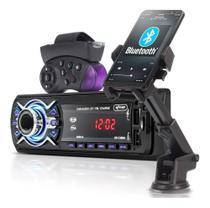 Auto Rádio Bluetooth Aparelho Som Automotivo Mp3 Controle Suporte - Knup