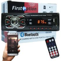 Auto Rádio Som Mp3 Player Automotivo Carro Bluetooth First Option 6630BSC Fm Sd Usb Controle