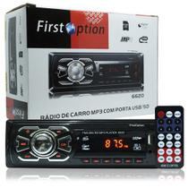 Auto Rádio Som Mp3 Player Automotivo Carro First Option 6620 Fm Sd Usb Controle