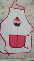 Avental de Cozinha com forro plástico em poliéster e acabamento em matelassê - branco com rosa - Ebenézer
