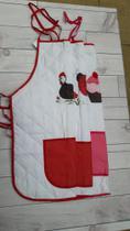 Avental de Cozinha em poliéster com matelassê e forro plástico- branco e vermelho - Ebenézer
