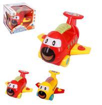Aviao baby divertido brinca bebe com som colors e luz a pilha na caixa - Wellmix